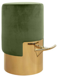 Casa Padrino luxury bar stool moss green / gold Ø 46 x H. 76 cm - Bar Furniture