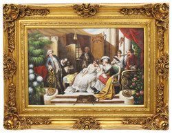 Casa Padrino Baroque Oil Painting Family Reunion II Gold Splendor Frame 130 x H. 100 cm - Baroque Furniture
