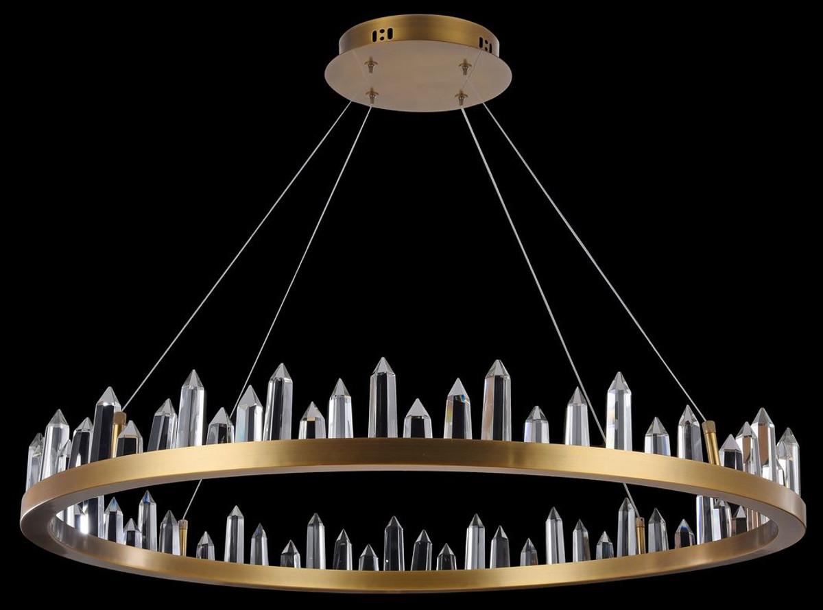 Casa Padrino LED Hängeleuchte mit messingfarbenem Metallrahmen und Kristallglaszacken Ø 85 x H. 10,4 cm - Wohnzimmermöbel 2