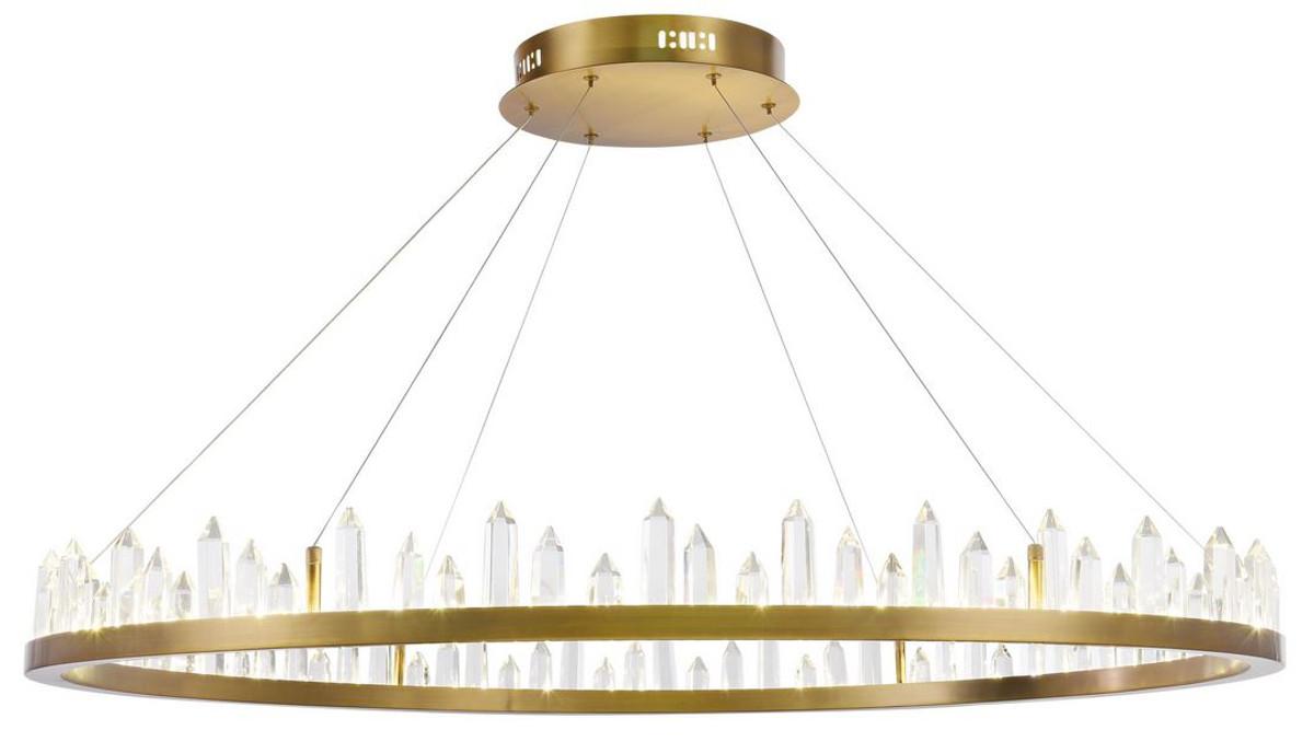 Casa Padrino LED Hängeleuchte mit messingfarbenem Metallrahmen und Kristallglaszacken Ø 85 x H. 10,4 cm - Wohnzimmermöbel 3