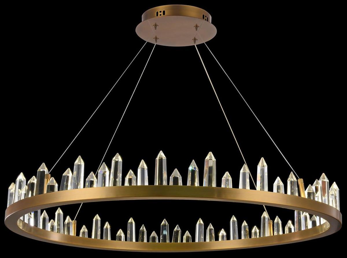 Casa Padrino LED Hängeleuchte mit messingfarbenem Metallrahmen und Kristallglaszacken Ø 85 x H. 10,4 cm - Wohnzimmermöbel 4