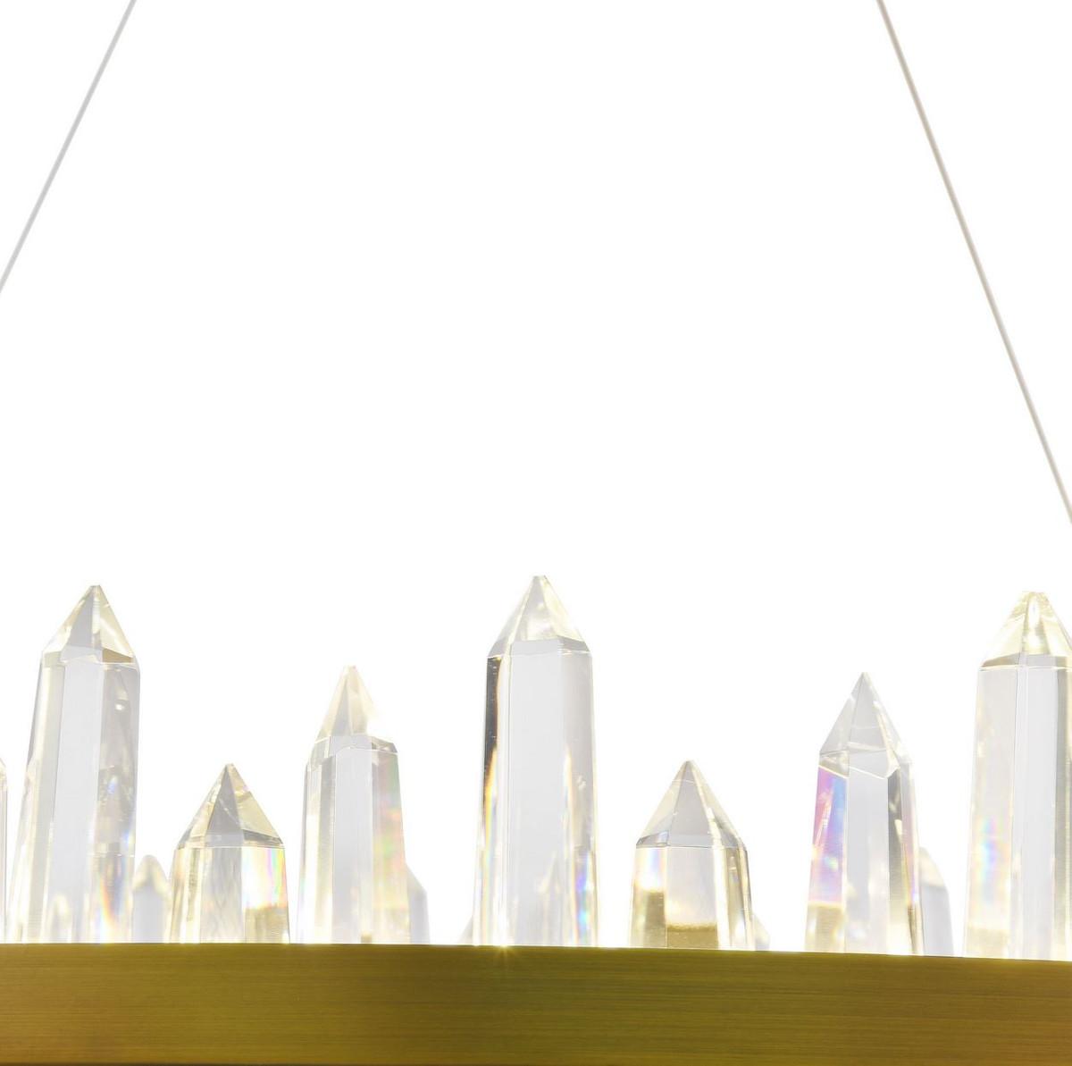 Casa Padrino LED Hängeleuchte mit messingfarbenem Metallrahmen und Kristallglaszacken Ø 85 x H. 10,4 cm - Wohnzimmermöbel 5