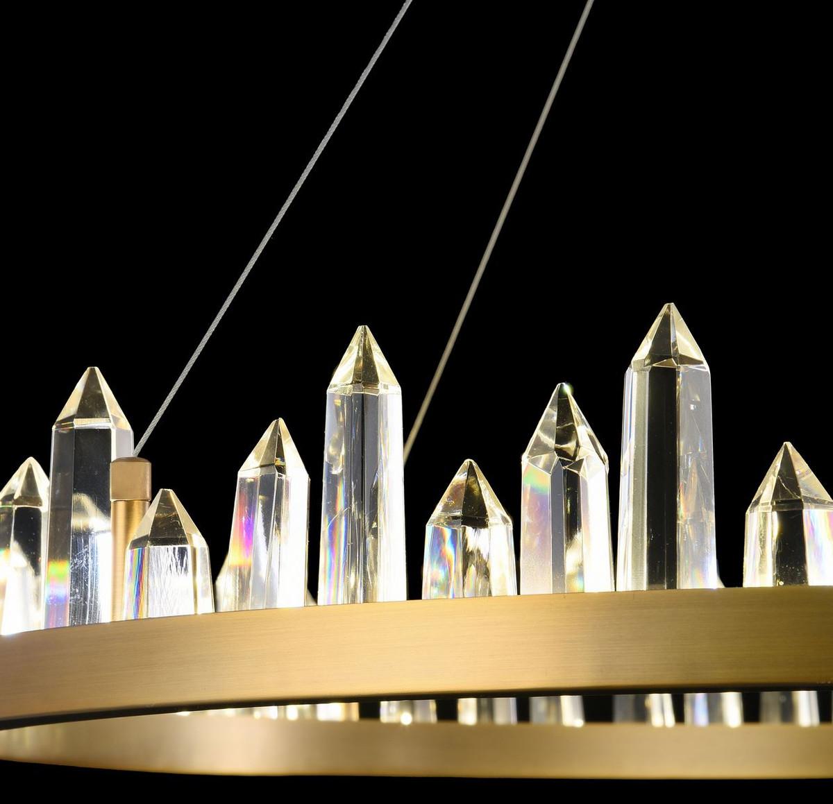 Casa Padrino LED Hängeleuchte mit messingfarbenem Metallrahmen und Kristallglaszacken Ø 85 x H. 10,4 cm - Wohnzimmermöbel 7