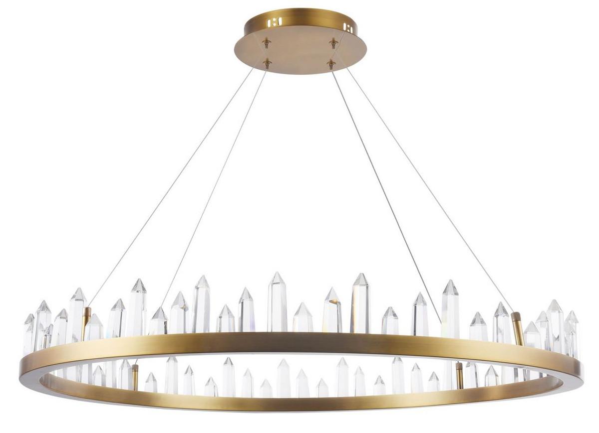 Casa Padrino LED Hängeleuchte mit messingfarbenem Metallrahmen und Kristallglaszacken Ø 85 x H. 10,4 cm - Wohnzimmermöbel 1