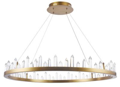 Casa Padrino LED Hängeleuchte mit messingfarbenem Metallrahmen und Kristallglaszacken Ø 85 x H. 10,4 cm - Wohnzimmermöbel