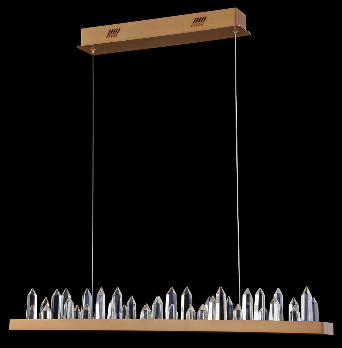 Casa Padrino LED Hängeleuchte mit messingfarbenem Metallrahmen und Kristallglaszacken 80 x 9 x H. 10,4 cm - Wohnzimmermöbel 2