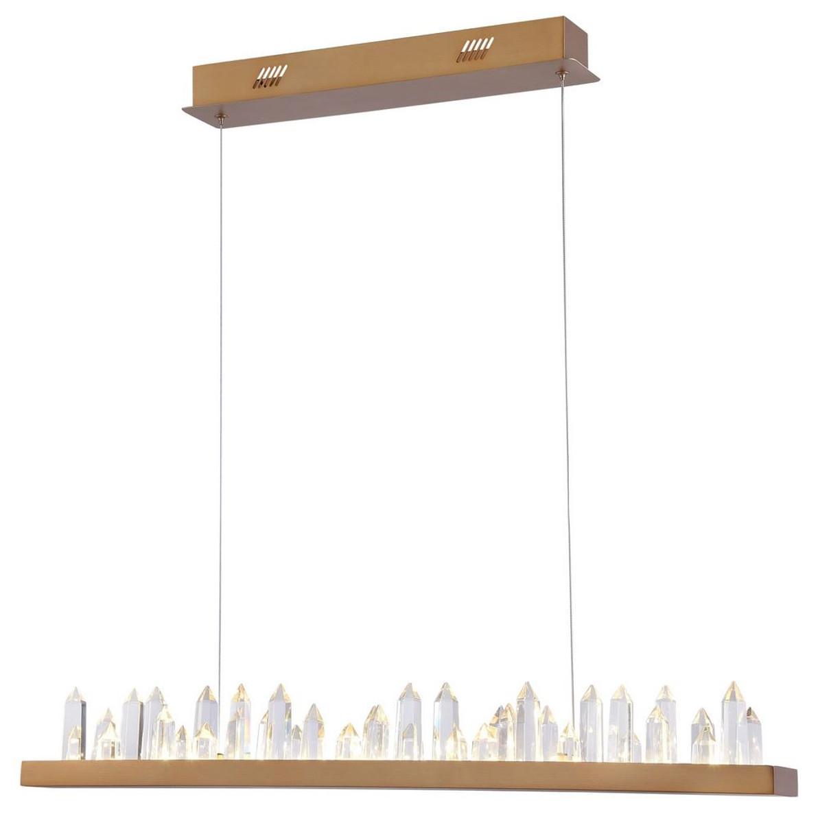 Casa Padrino LED Hängeleuchte mit messingfarbenem Metallrahmen und Kristallglaszacken 80 x 9 x H. 10,4 cm - Wohnzimmermöbel 3