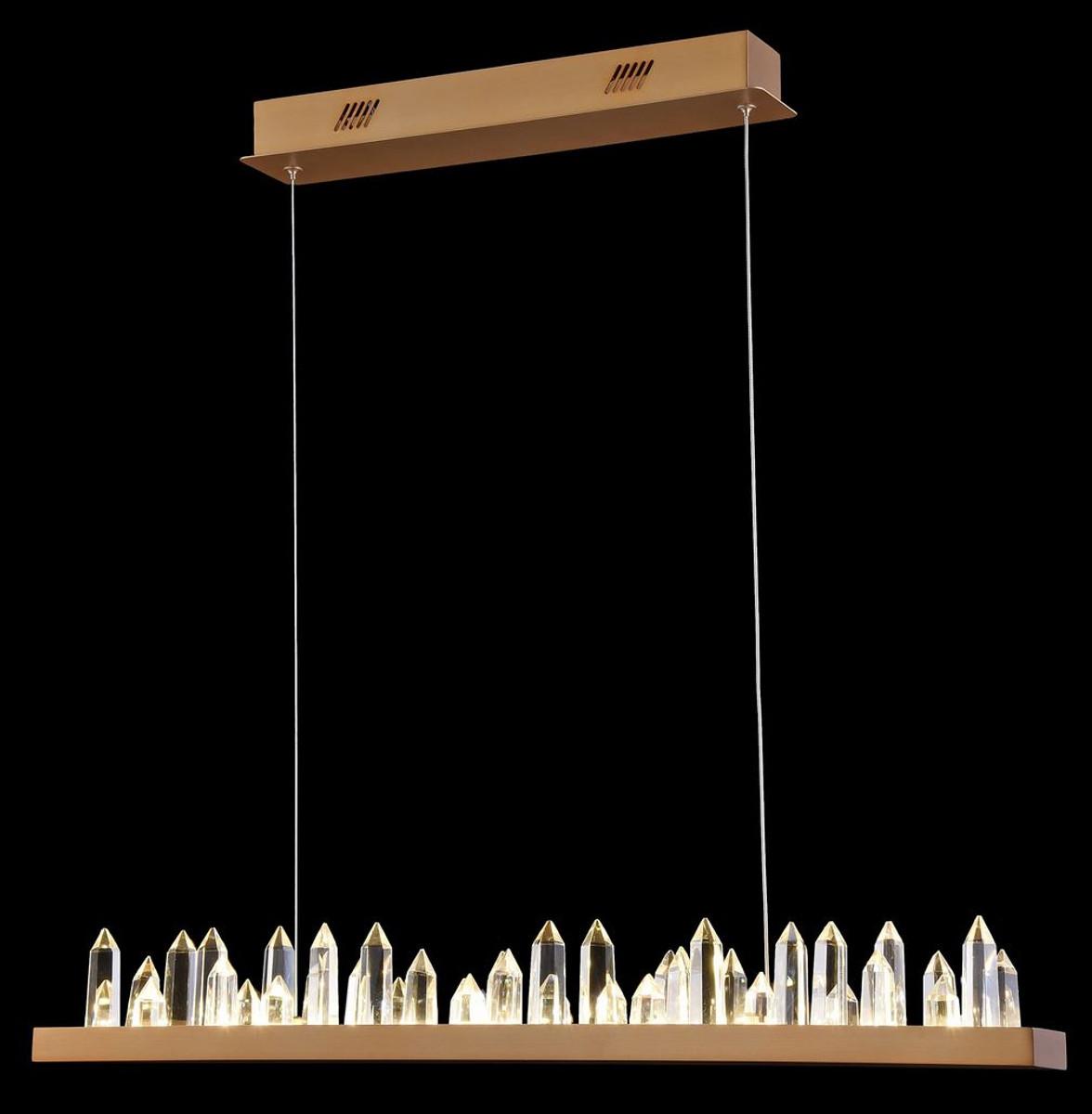 Casa Padrino LED Hängeleuchte mit messingfarbenem Metallrahmen und Kristallglaszacken 80 x 9 x H. 10,4 cm - Wohnzimmermöbel 4