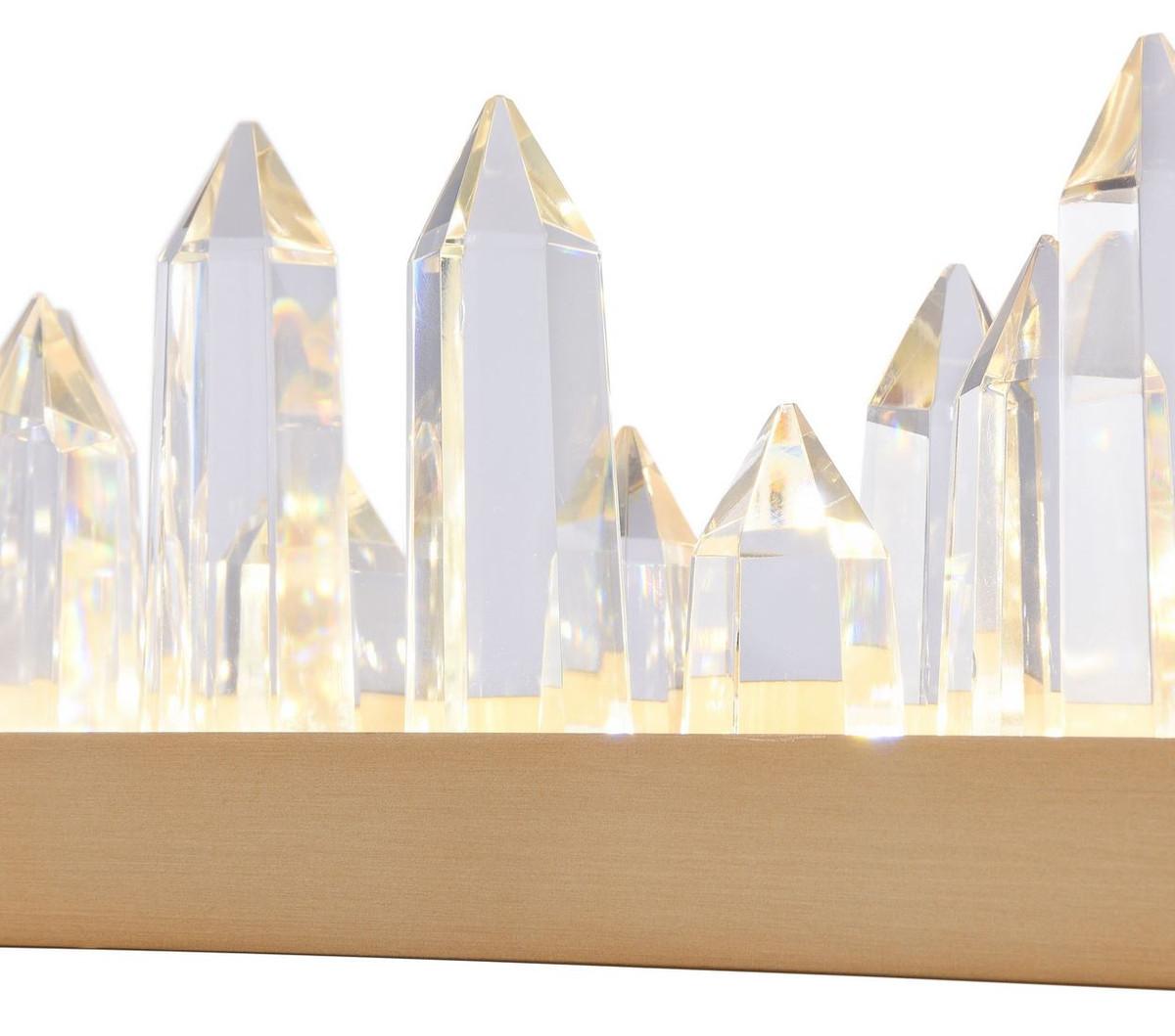 Casa Padrino LED Hängeleuchte mit messingfarbenem Metallrahmen und Kristallglaszacken 80 x 9 x H. 10,4 cm - Wohnzimmermöbel 5