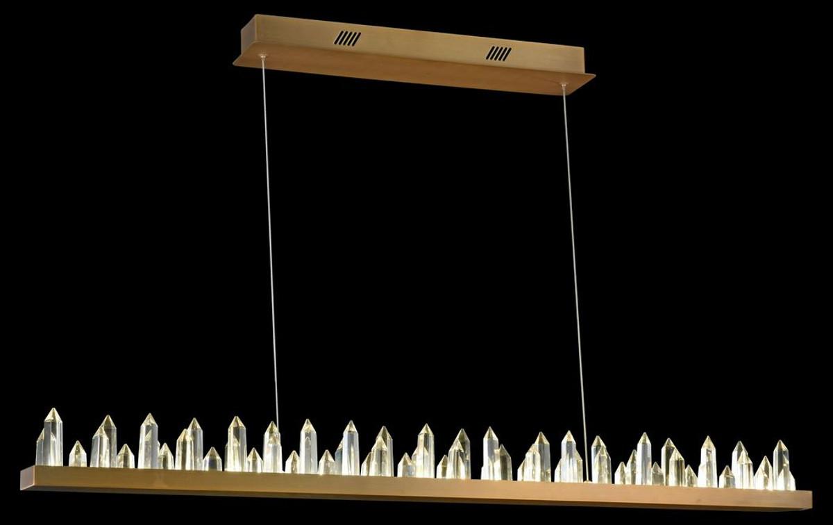 Casa Padrino LED Hängeleuchte mit messingfarbenem Metallrahmen und Kristallglaszacken 115 x 9 x H. 10,4 cm - Wohnzimmermöbel 4