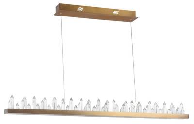 Casa Padrino LED Hängeleuchte mit messingfarbenem Metallrahmen und Kristallglaszacken 115 x 9 x H. 10,4 cm - Wohnzimmermöbel