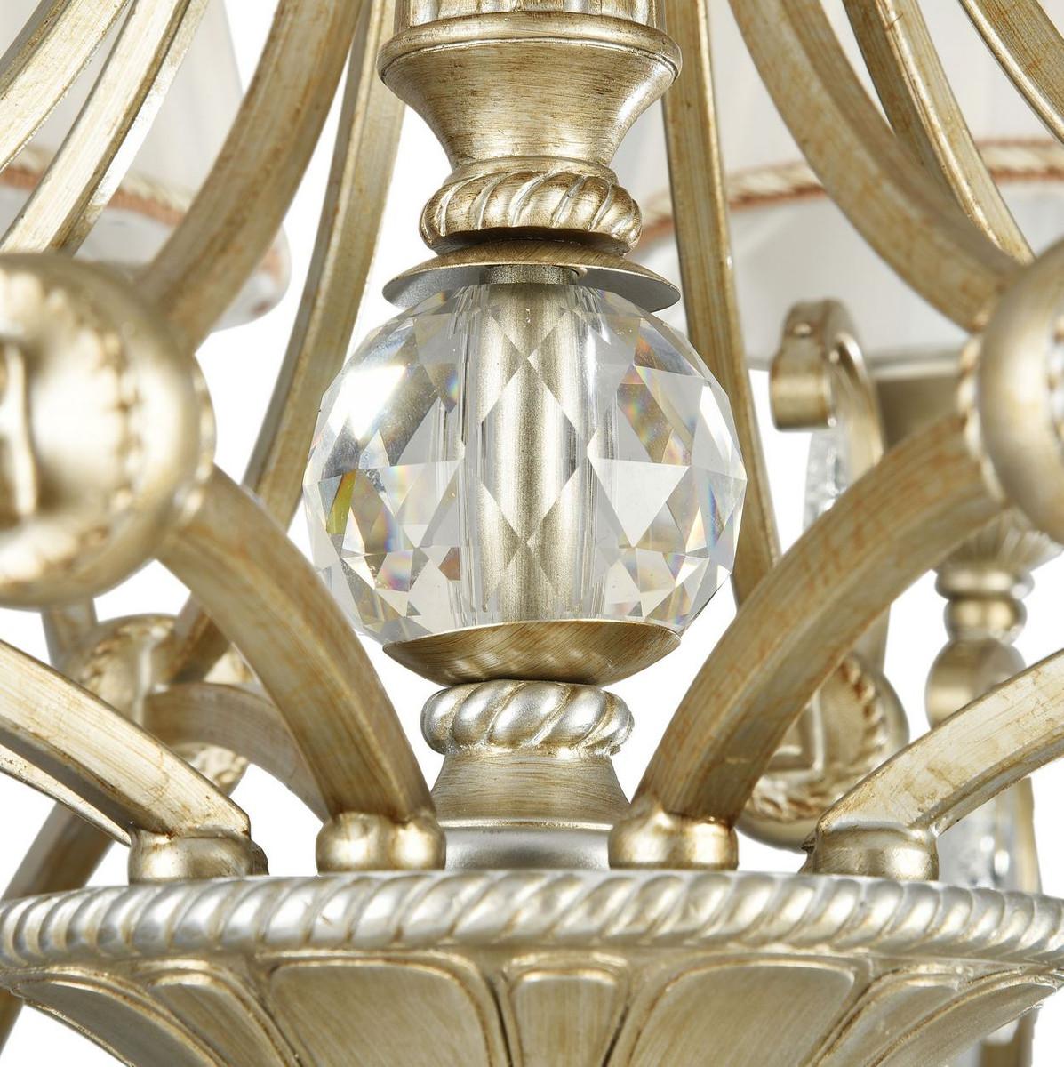 Casa Padrino Barock Kronleuchter 8-Flammig Gold / Silber Ø 80 x H. 50 cm - Barockstil Möbel 6
