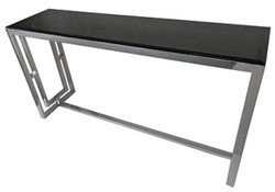 Casa Padrino console silver / black 150 x 40 x H. 78 cm - Console Table with Black Glass Top