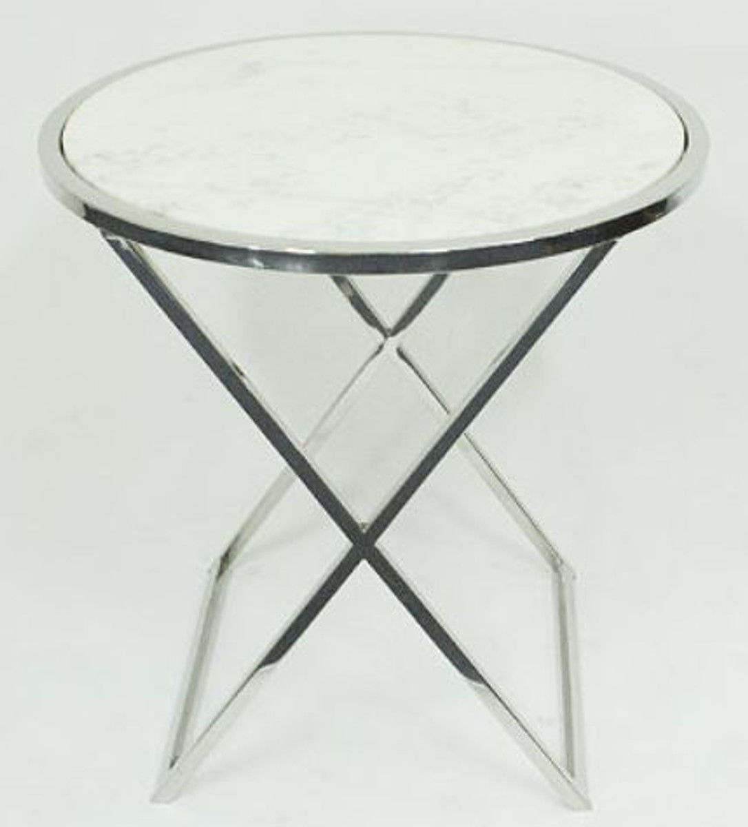 Casa Padrino Beistelltisch Silber / Weiß Ø 61 x H. 61 cm - Wohnzimmer Beistelltisch mit weißer Marmorplatte 1