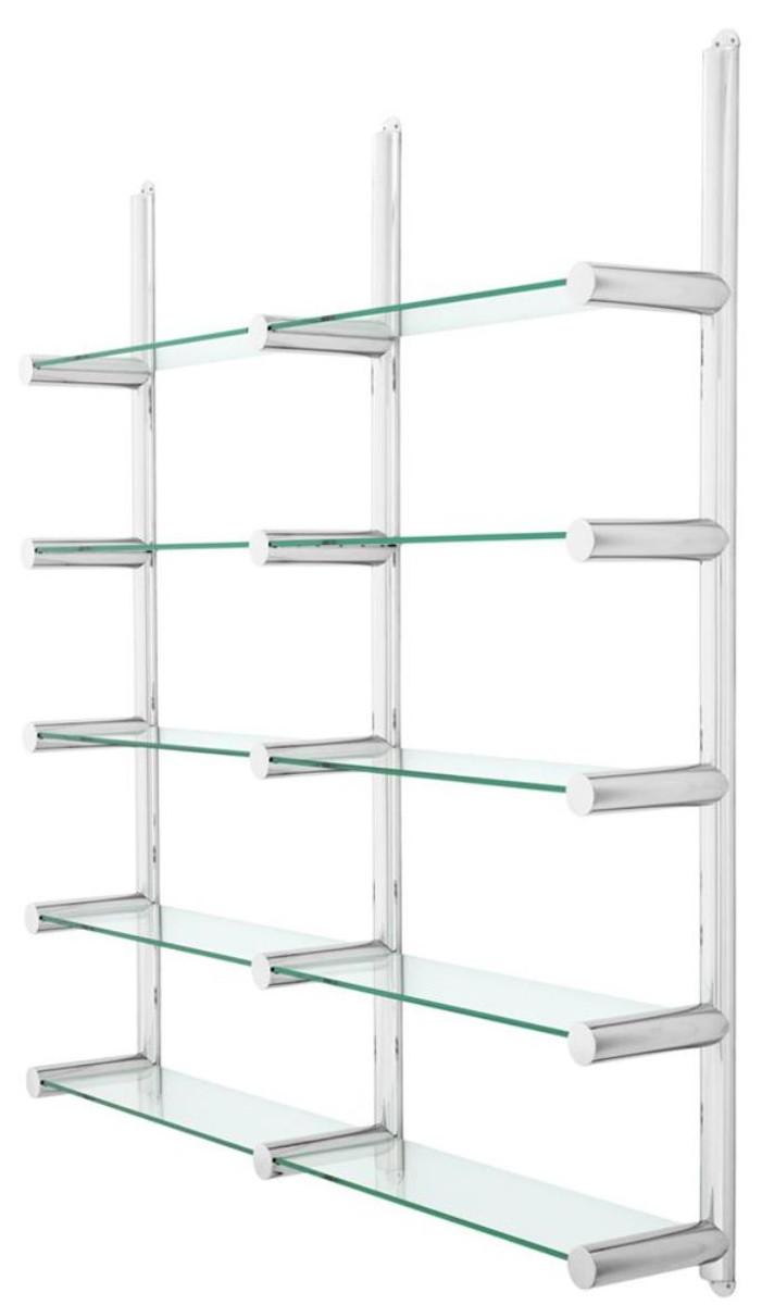 Casa Padrino Wohnzimmer Wandregal / Bücherregal Silber 9,9 x 9 x H. 9  cm - Luxus Möbel