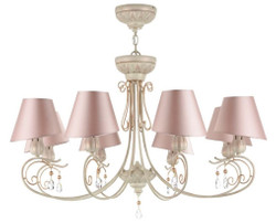 Casa Padrino Baroque Chandelier 8-Flames Beige / Peach Gold / Pink Ø 89 x H. 54 cm - Baroque Style Furniture