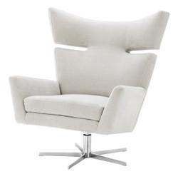 Casa Padrino swivel armchair sand colors / silver 100 x 89 x H. 105 cm - Luxury Furniture