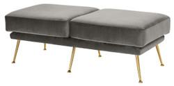 Casa Padrino Luxus Sitzbank Grau / Messingfarben 125 x 58 x H. 45 cm - Designermöbel