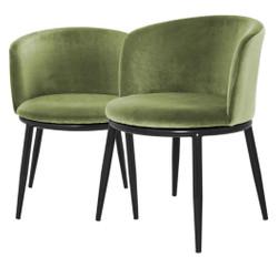 Casa Padrino Luxury Dining Chair Set Light Green / Black 57 x 57 x H. 74 cm - Dining Room Furniture