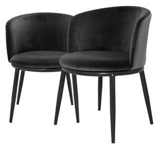 Casa Padrino Luxus Esszimmerstuhl Set Schwarz 57 x 57 x H. 74 cm - Esszimmermöbel – Bild 1
