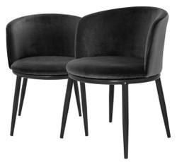 Casa Padrino Luxury Dining Chair Set Black 57 x 57 x H. 74 cm - Dining Room Furniture