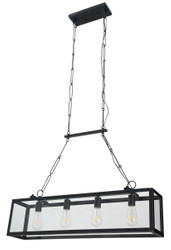 Casa Padrino Hanging Lamp Black 91.5 x 17.6 x H. 29.1 cm - Hanging Lamp with Forged Frame and Bordered Glass