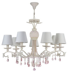 Casa Padrino Art Nouveau Crystal Chandelier 7-Flames Cream / Pink Ø 81 x H. 65 cm - Chandelier with White Lampshades