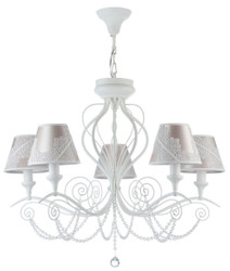Casa Padrino Art Nouveau Chandelier 5-Flames White / Pink Ø 74 x H. 58 cm - Baroque & Art Nouveau Furniture