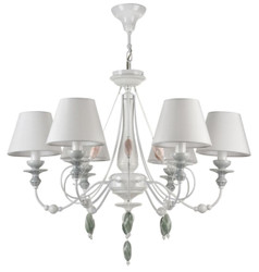 Casa Padrino Baroque Style Chandelier 6 Flames High Gloss White Ø 75 H. 57 cm - Art Nouveau Furniture