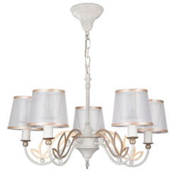 Casa Padrino Art Nouveau Chandelier 5-Flames Antique White Ø 57 x H. 34 cm - Baroque & Art Nouveau Chandelier
