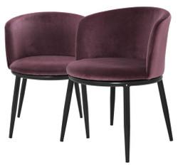 Casa Padrino Luxury Dining Chair Set Purple / Black 57 x 57 x H. 74 cm - Dining Room Furniture