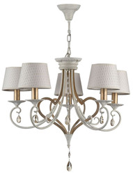 Casa Padrino Baroque Crystal Chandelier 5 Flames White / Gold Ø 65 H. 57 cm - Baroque Style Furniture