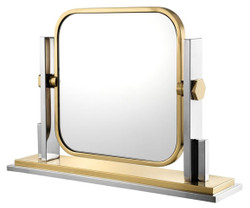 Casa Padrino luxury make-up mirror silver / gold 66 x 15 x H. 47 cm - Dressing Table Mirror