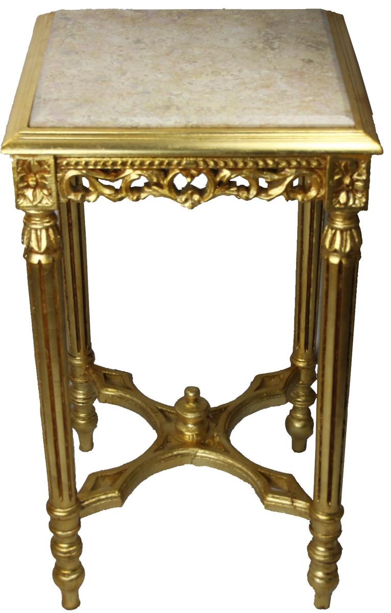 casa padrino barock beistelltisch eckig gold mit creme. Black Bedroom Furniture Sets. Home Design Ideas