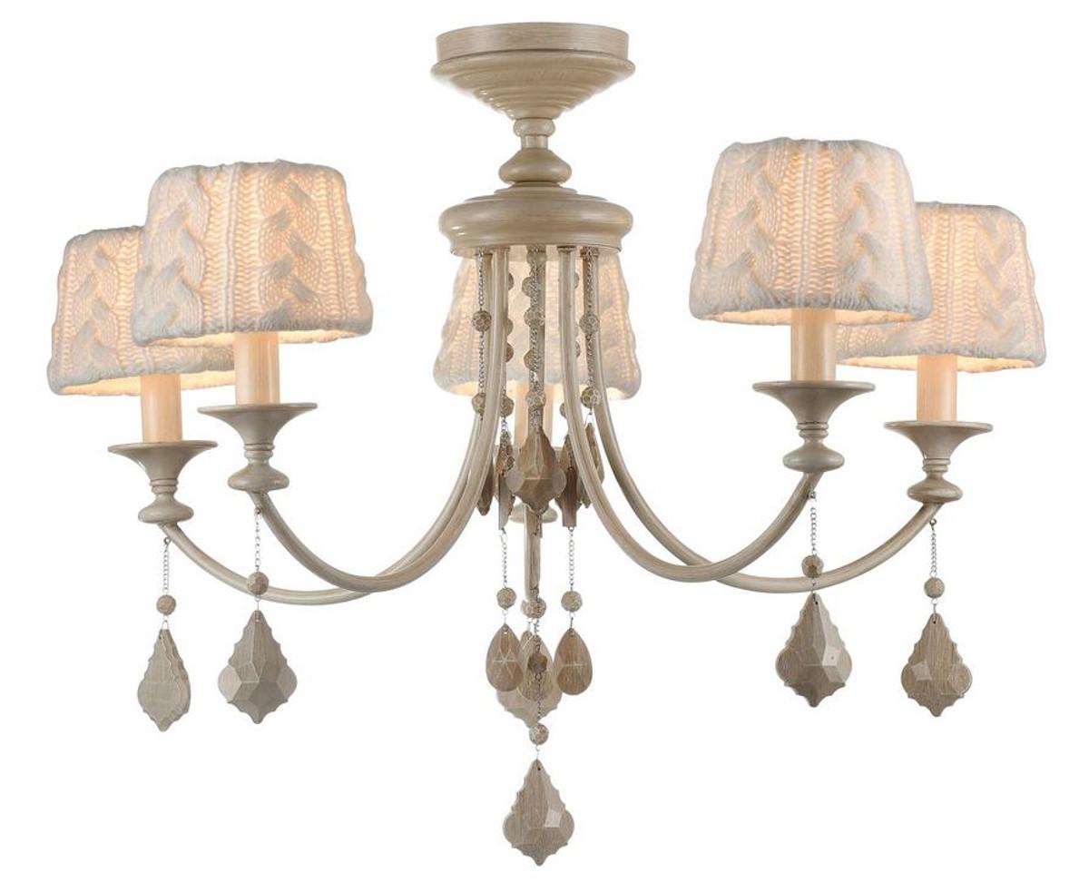 Casa padrino barock kristall kronleuchter l ster 5 flammig beige 76 x h 59 cm barockstil - Kronleuchter barock ...
