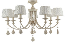 Casa Padrino Baroque Crystal Chandelier 7 Flames Beige Ø 87 x H. 59 cm - Baroque Style Furniture