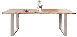 Casa Padrino Designer Solid Wood Dining Table Natural - Acacia - 200 x 100 x H.80 cm - Made of solid acacia wood