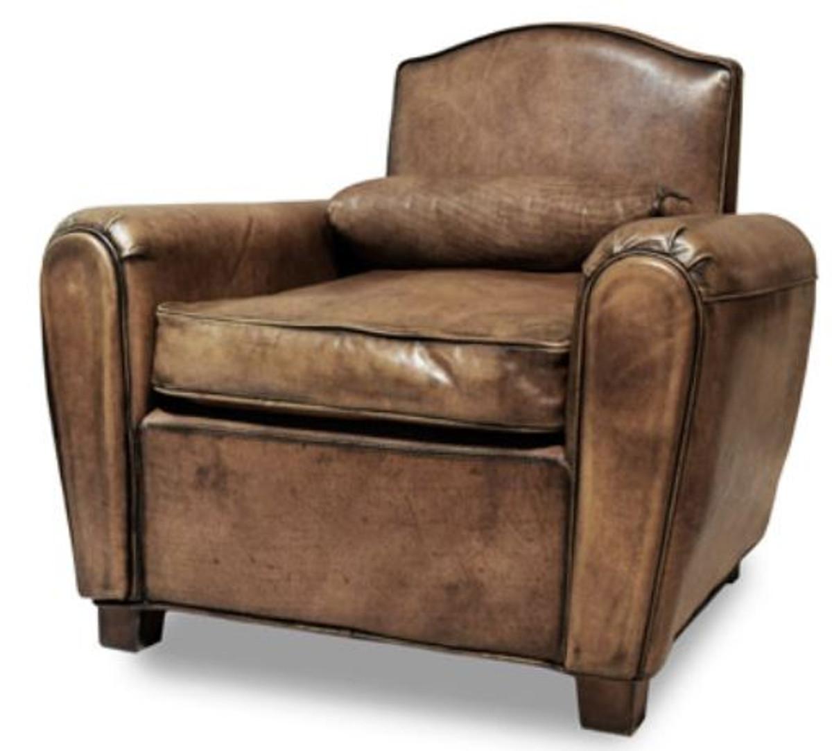 Casa padrino luxus wohnzimmer leder sessel vintage braun for Wohnzimmer sessel vintage