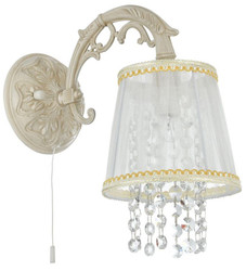 Casa Padrino Baroque Style Crystal Wall Lamp Cream Gold 17 x 28 x H. 27 cm - Baroque Wall Lamp