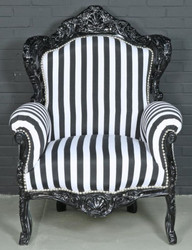 Casa Padrino Baroque Armchair Black / White 85 x 85 x H. 120 cm - Baroque Style Living Room Armchair with Stripes