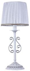 Casa Padrino Barock Tischleuchte Weiß / Silber Ø 22 x H. 52 cm - Tischlampe im Barockstil