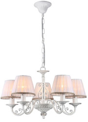 Casa Padrino Baroque Crystal Chandelier White / Silver Ø 57 x H. 35 cm - Baroque Style Chandelier