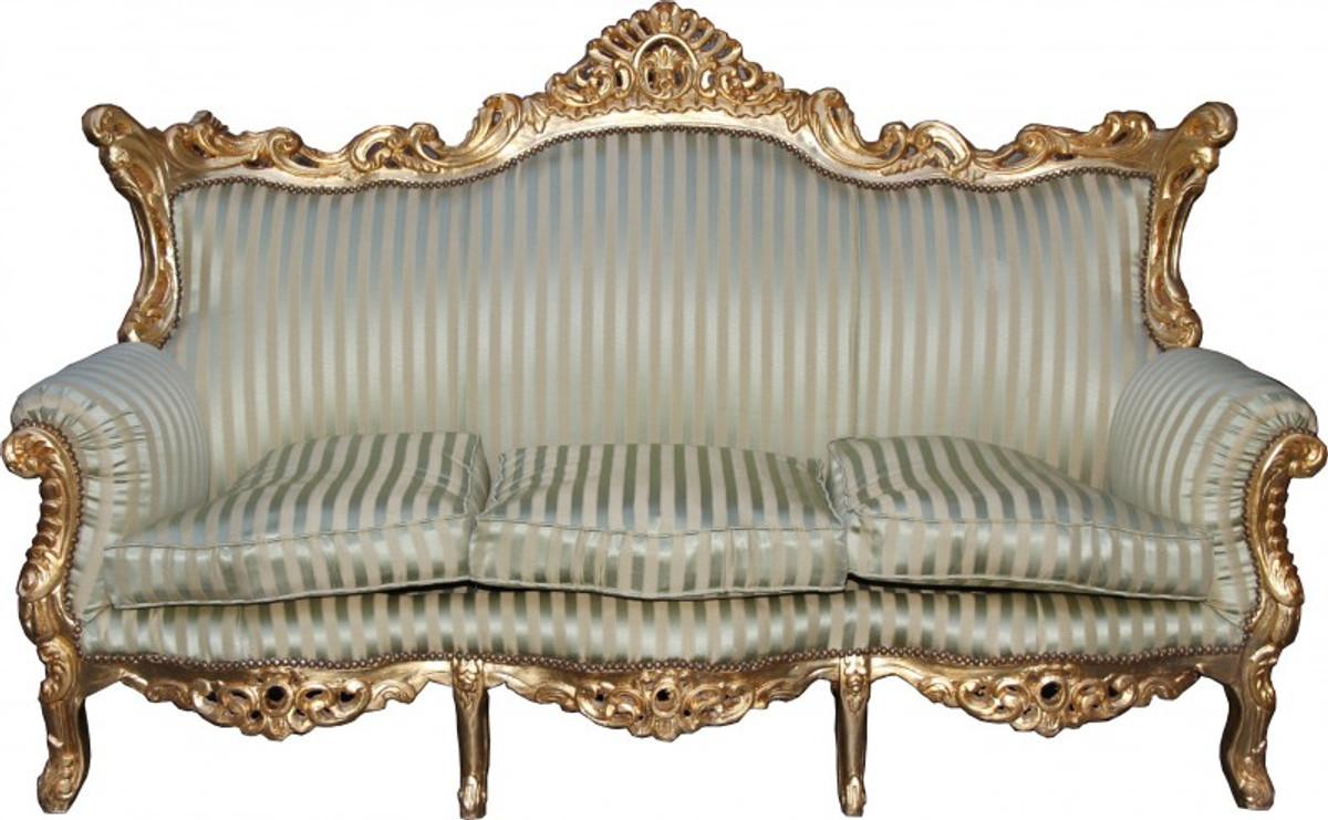 Casa Padrino Barock 3er Sofa Master Jadegrün/Beige / Gold Mod3 ...