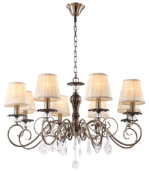 Casa Padrino Baroque Crystal Chandelier Bronze / Cream Ø 83 x H. 52 cm - Living Room Furniture in Baroque Style