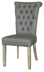 Casa Padrino Chesterfield Dining Chair Frost Gray 51 x 66 x H. 100 cm - Luxury Dining Room Furniture