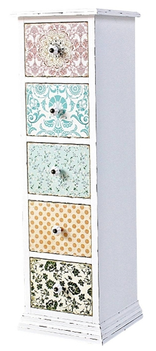 casa padrino country style chest of drawers antique white multicolored 33 x 32 x h - Shabby Chic Grau