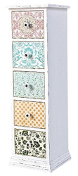 Casa Padrino country style chest of drawers antique white / multicolored 33 x 32 x H. 110 cm - Furniture in Shabby Chic Design