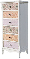 Casa Padrino country style chest of drawers antique white / multicolored 52 x 38 x H. 120 cm - Furniture in Shabby Chic Design