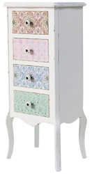 Casa Padrino Country Style Shabby Chic Chest of Drawers Antique White / Multicolor 43 x 32 x H. 98 cm - Country Style Collection