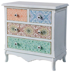 Casa Padrino Country Style Shabby Chic Chest of Drawers Antique White / Multicolor 70 x 38 x H. 71 cm - Country Style Collection